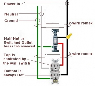 how to wire a switched outlet half hot outlet rh electrical knoji com wiring switched outlet with two switches wiring a switched outlet receptacle